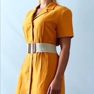 *Vintage Mustard Yellow Button Down Dress*